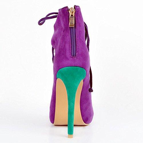 Kolnoo Femmes Handmade 12cm Chaussures à talons hauts à talons compensés purple SRVK89ni