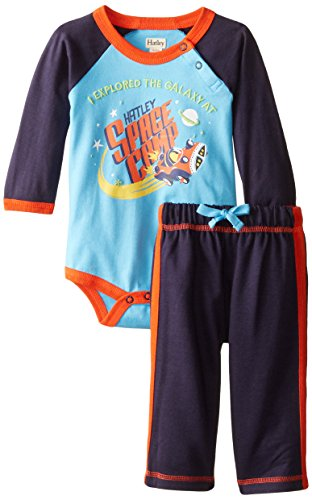Hatley Baby Boys Newborn Raglan Bodysuit and Pant Set Stars In Space, Blue, 3-6 Months