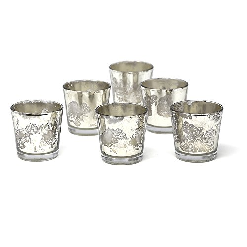 Silver Mercury Glass Votive Holders, Set of 6