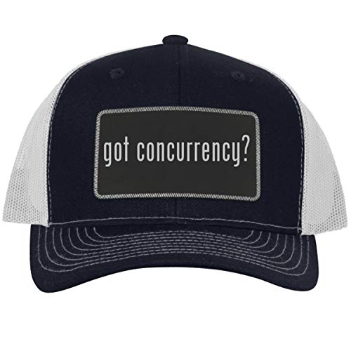 got Concurrency? - Leather Black Metallic Patch Engraved Trucker Hat, NavyWhite, One Size