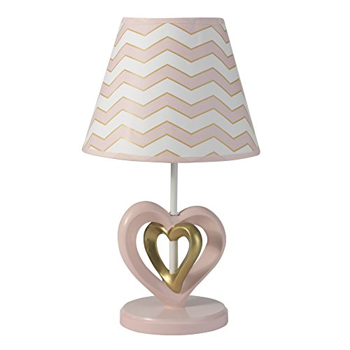 Lambs & Ivy Baby Love Lamp with Shade & Bulb - Pink/Gold/White Heart and Chevron from Lambs & Ivy