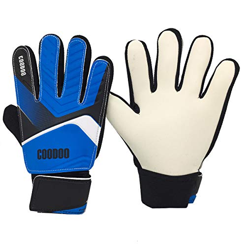 Kids & Youth Soccer Goalkeeper Gloves, Junior Indoor & Outdoor Goalie Gloves for Girls and Boys, 3 mm Strong German Latex Palm, Supportive Wrist Straps, Secure and Comfort (Blue, Size 7) (Soccer Keeper Control)
