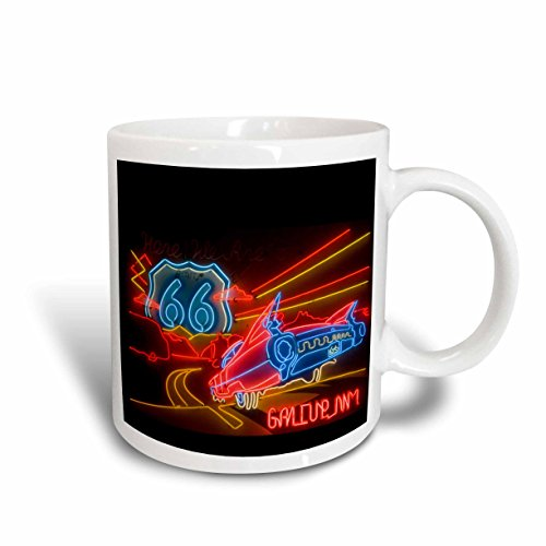 Route 66 Mugs (3dRose Route 66 Neon Sign Gallup CHAmber of Commerce US32 TDR0060 Trish Drury Ceramic Mug, 15-Ounce)