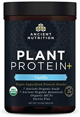 Plant Protein , Plant Based Protein Powder, Vanilla, Formulated by Dr. Josh Axe, Fusion of Organic Seeds Botanicals Brings You a Vegan, Non-GMO, No Sugar Added Superfood Supplement, 11.5 oz