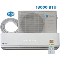 Mini Split Air Conditioner - 18000 BTU - 1.5 Ton - 21.5 SEER Inverter with Android WiFi - Ductless Heat Pump - AC Unit Split System For Heating & Cooling 230V