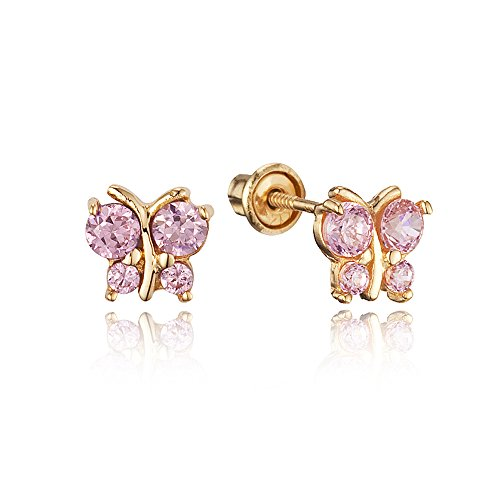 14k Yellow Gold Pink Butterfly Cubic Zirconia Children Screwback Baby Girls Earrings 14k Yellow Gold Baby Earrings