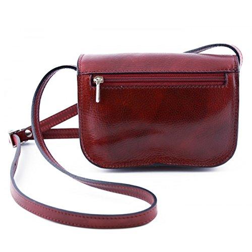 Italy Pelle Toscana In Colore Tracolla Scomparti Mini 3 Vera Donna Rosso Made Borsa Pelletteria XqWwSO