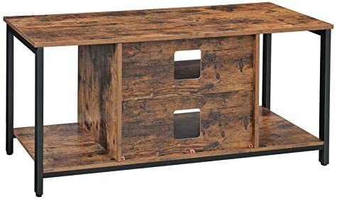 VASAGLE TV Stand for fifty Inches TV, TV Console Table with Storage, Entertainment Center, for Living Room, Industrial Rustic Brown ULTV39BX