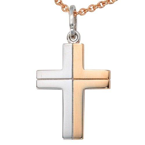 JOBO pendentif en forme de croix en or blanc 585
