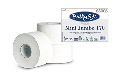 Bulky Soft BS-65006 Mini-Jumbo Toilettenpapier, 2-lagig, Durchmesser 19 cm, Hochweiß (12-er Pack) Carrara