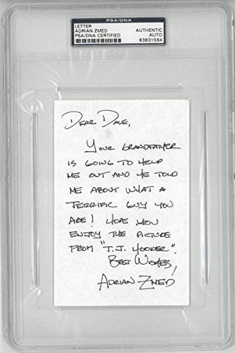 adrian-zmed-signed-tj-hooker-autographed-4x6-letter-slabbed-psa-dna
