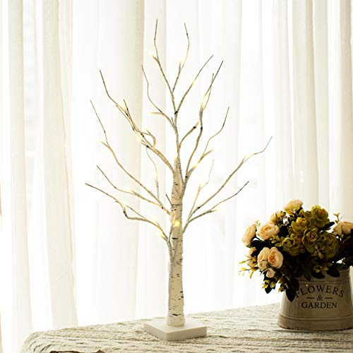 Vanthylit LED Birch Tree Light Tabletop Bonsai Tree Light Battery Powered with 24 Led Warm White for Indoor Decoration(Included 8 Decorative Eggs) -