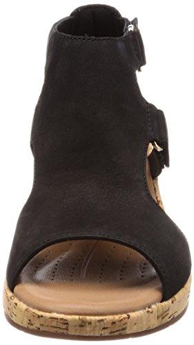 Clarks Dames Un Plaza Strap Sandalen, Zwart Zwart (zwart Nubuck)