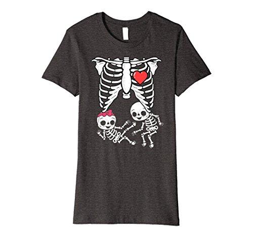 Womens Skeleton Pregnancy Announcement Shirt Twins Xray Halloween Medium Dark Heather