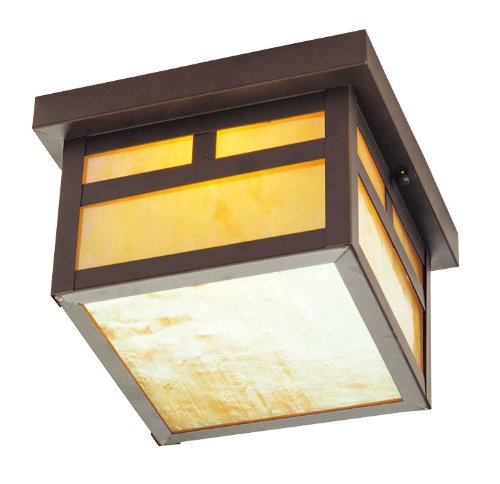 Livex Lighting 2138-07 Montclair Mission 1 Light Outdoor Bronze Finish Solid Brass Ceiling Mount with Iridescent Tiffany Glass