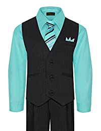 Rafael Boy's Vest and Pant Set, Includes Shirt, Tie and Hanky