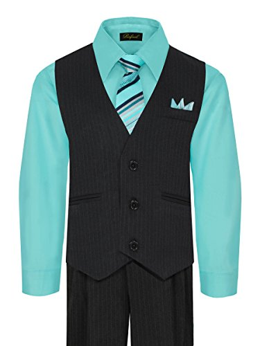 Boy's Vest and Pant Set, Includes Shirt, Tie and Hanky - HAWAIIAN BLUE 3T