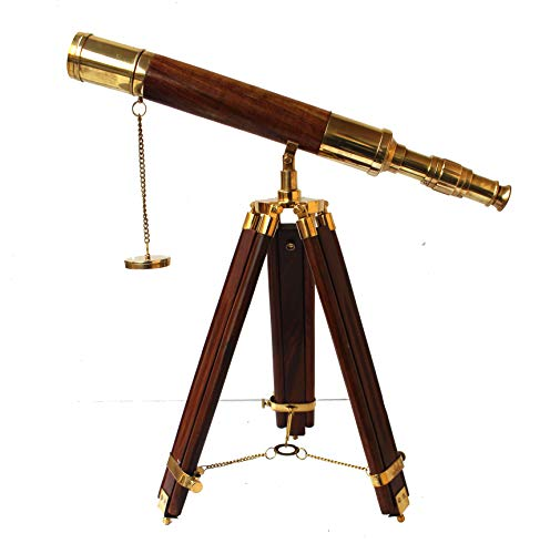 Collectibles Buy A Vintage Table Decorative Shiny Brass Tube Telescope with Antique Wooden Tripod High Magnification Sailor Article by Collectibles Buy (Image #5)
