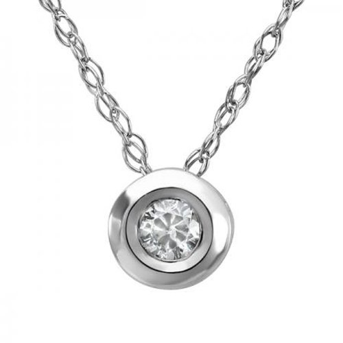 0.05 Carat (ctw) 14k White Gold Round Diamond Bezel Solitaire Small Ladies Pendant 1/20 CT FREE 18 INCH - White Chain Ladys Gold