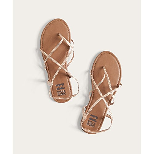 Braided Strappy Sandal (Billabong Women's Crossing Over Flat Sandal, Rose Gold/Multi, 9 M US)