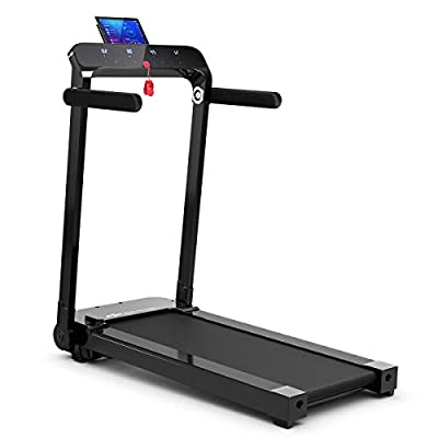 Goplus Electric Folding Treadmill, Installation-Free, with LED Touch Display, Adjustable Armrest, and Tablet/Phone Holder, Compact Walking Running Machine for Home and Office Use