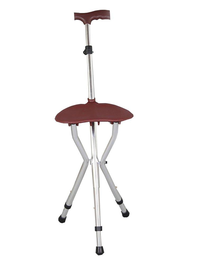 Walking Stick Three Legged Seat Stick Aluminium Height Adjustable Silver Healthcare Folding Seat Cane Disability Medical Aid 79-100 Cm