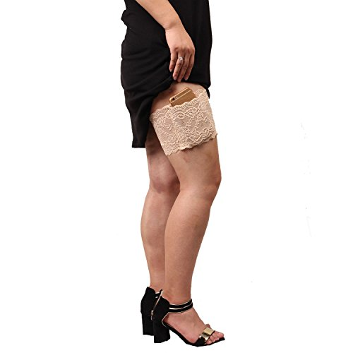 Auony Lace Purse,Non-slip Concealed Lace Thigh Holster Thigh Garter Purse with Phone Secured Pockets fits Thigh 19''-22'' (Flask Thigh Strap)