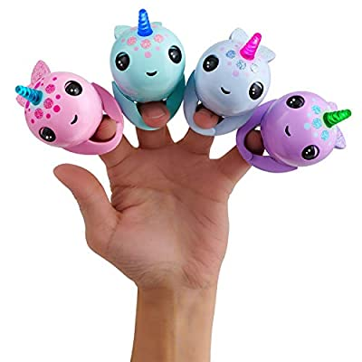WowWee Fingerlings Light Up Narwhal - Nelly (Purple) - Friendly Interactive Toy: Toys & Games
