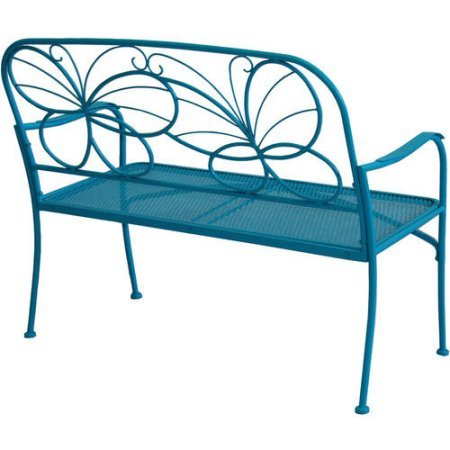 Hello Butterfly Outdoor Patio Bench, with Armrests,rounded Corners and a Sturdy Frame, Enhances the Backrest That Greets You,your Family and Guest, Blue