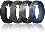 Egnaro Inner Arc Ergonomic Breathable Design,Breathable Rubber Wedding Bands,7 Rings / 4 Rings / 1 Ring 8mm Wi