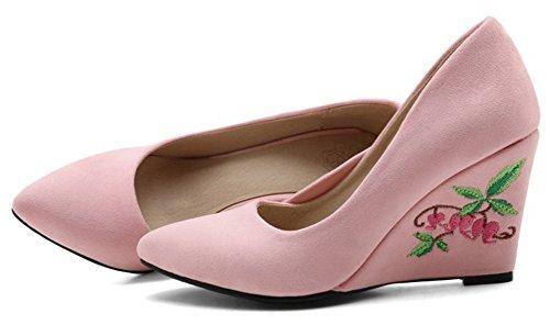 Aisun Femmes Élégante Fleur Brodée Coupe Basse Habillé Slip Sur Bout Pointu Talon Haut Pompes Wedge Chaussures Rose