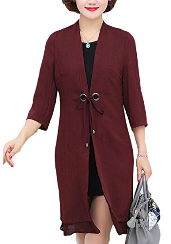 Womens Two Dress Fashion Jaycargogo Long Sleeve Piece Set Chiffon Cardigans 1 Odn7w