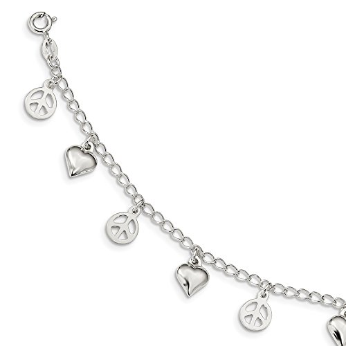ilver Polished Peace Sign and Heart Bracelet 7.5