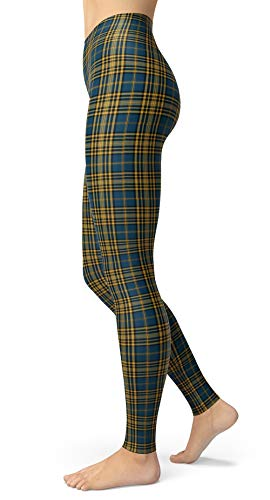 Women's Plaid Tartan Printed Leggings Stretchy Brushed Ankle Length Tights (One Size(XS-L/Size 0-12), Blue Plaid)