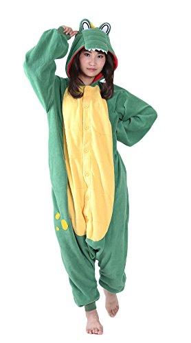 luyao188 Women/Men Cute Green Crocodile Costumes Pyjamas, Teens Boys Girls Cosplay One-Piece -