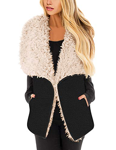 Lookbook Store Women's Casual Fleece Open Front Vest Sleeveless Lapel Outerwear Coat with Pockets Black Size Large (US ()
