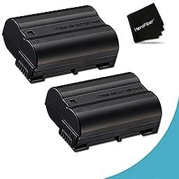 Pack of 2 - EN-EL15 High Capacity Batteries for Nikon DSLR Cameras including the Nikon D750 D7200, D810A, D7000, D7100, D800, D800E, D600, D610, 1V, These ENEL15 Batteries have 2400mAh each and are equivalent to the original Nikon EN-EL15 Battery in perfo
