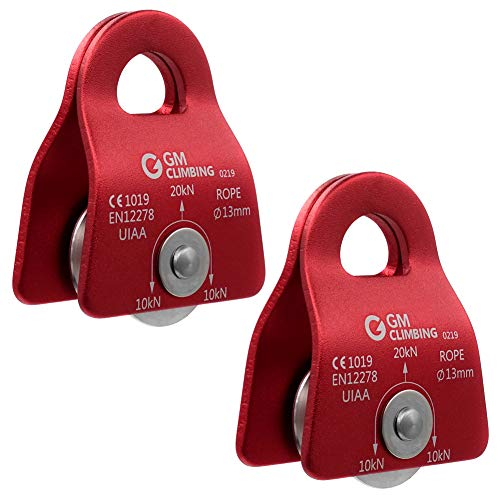 """GM CLIMBING 20kN UIAA Certified Black Micro Prusik Minding Pulley 1/2"""" (Pack of 2(red))"""
