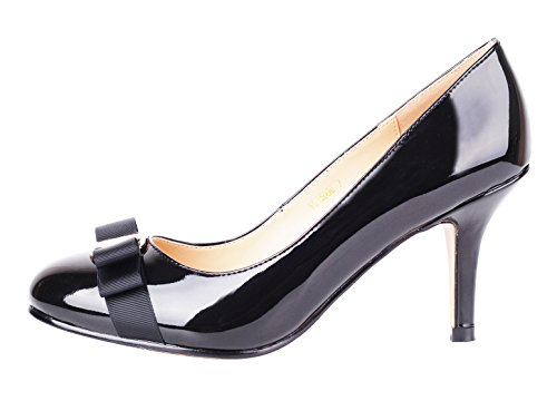 Verocara Women's Grosgrain Bow Kitten Heel Almond Toe Evening Dress Pumps Black Patent 8 B(M) US