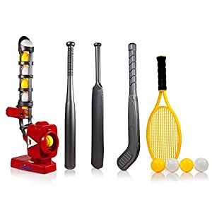 Power Pro Kids 4 In 1 Multi-Function Pitching Machine, Plus Baseball Bat, Tennis Racket, Hockey Stick, Cricket Bat & 12 Balls, Best Training Sports Toy to Build Child's Self Esteem by Dimple (Red)