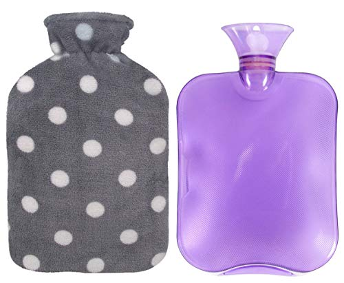 sic PVC Hot Water Bottle with Soft Fleece Cover (2 Liters, Purple/Gray Polka Dot) ()