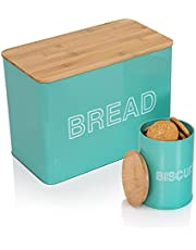 VCHAMP Metal Bread Storage Container - Rustic Bread Box with Bamboo Cutting Board Lid & Biscuit Tin Set - Teal Extra Large Bread Box for Homemade Bread Loaf to Stay Fresh Longer…
