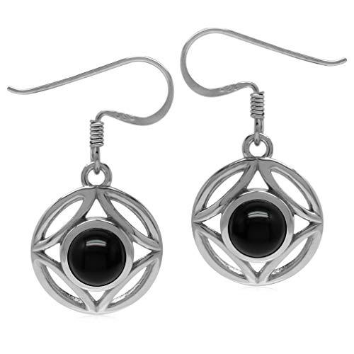 Silvershake 6mm Genuine Round Shape Black Onyx 925 Sterling Silver Filigree Dangle Hook Earrings
