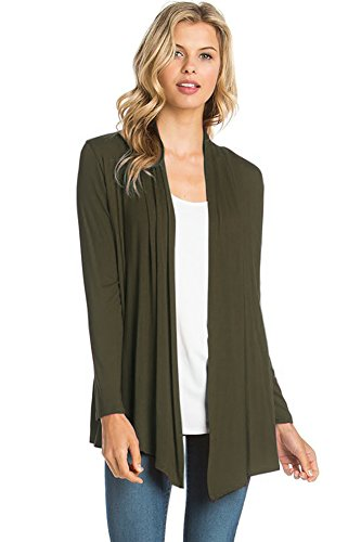12 Ami Basic Long Sleeve Open Front Cardigan Olive Green XL ()