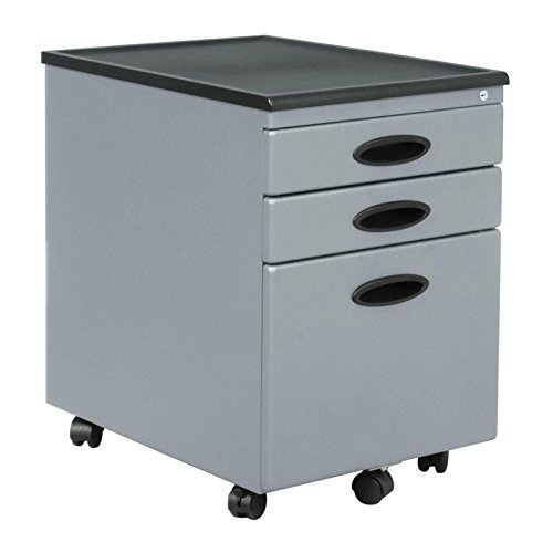 Metal File Cabinet with Lock 2 Storage Draws and 1 File Draw on Wheels - Silver