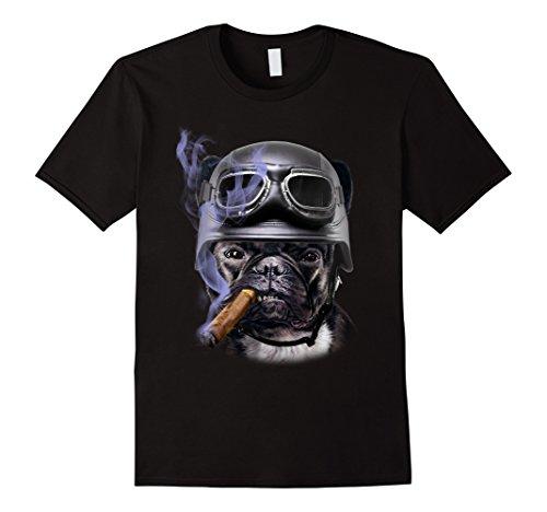 Mens T-Shirt, French Bull Dog Biker in Motorcycle Helmet, Cigar Medium Black