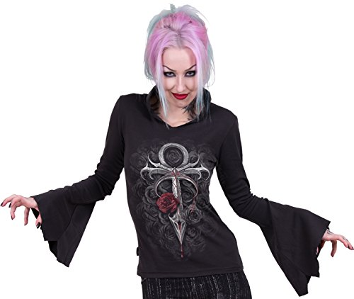 Spiral - Womens - VAMPIRE'S KISS - High Neck Goth Top Black - XL