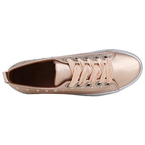 Rose Strass Gold Stiefelparadies Plateau Damen Flandell Metallic Sneaker Y7YqXw0z