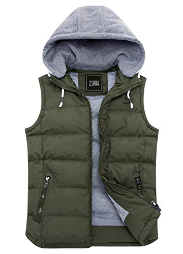Hooded Winter Vest - ZSHOW Women's Winter Padded Vest Removable Hooded Outwear Jacket (Army Green, X-Large)