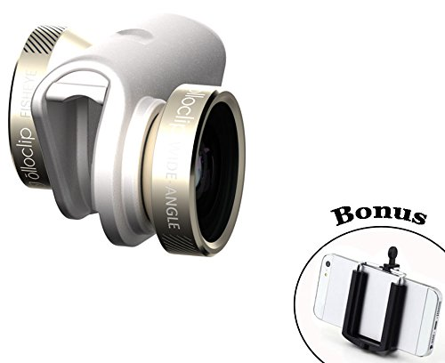 olloclip 4-in-1 Pocket-Sized Lens Kit for iPhone 6/6 Plus, Gold/White Includes Fisheye, Wide Angle, 10x Macro and 15x Macro with Wearable Pendant and a Bonus Universal Smartphone Tripod Mount Adapter